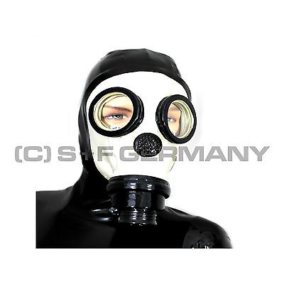 Gas Mask Clinic-Style Latex Zipper Hood With Hairguard Latexmask For Body Gloves