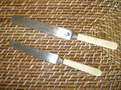 2 Colletable vintage CHK Durby eng s/steel butter knives cream handles (6)