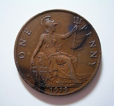 UK Britain  penny 1919 ... Great Coin Good Condition