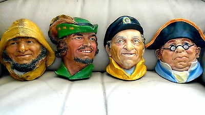 """4 chalk heads(not Bossons) """"Made in England""""  Robin Hood Mr Bumble fishermn ec"""