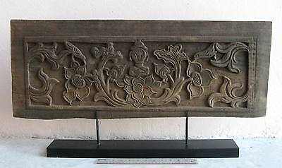 EXQUISITE!  Mandalay Period Teak Wood Buddhist Temple Wall Panel Ornament