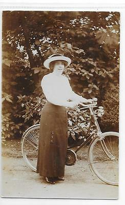 1878   Rppc Of Young Lady On Cycle With Carbine Lamp Unposted
