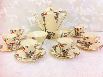 "Hand Painted Art Deco "" Clair De Lune "" Coffee Set for Six"