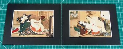 Japanese Reproduction Woodblock Print Shunga Set of 2 Mounted on Parchment Paper