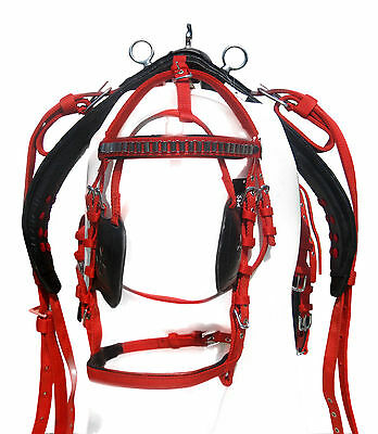 Horse Nylon Cart Driving Harness Set Top Quality Full,cob,pony  Red/black