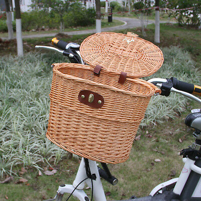 Willow Wicker Bicycle Bike Front Basket For Shopping Stuff Pets Fruits