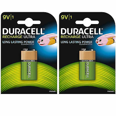 LOT 2 x PILE ACCU DURACELL CHARGEABLE 9V 170mAh Ni-Mh 6F22 6LR6 BATTERY BATTERIE