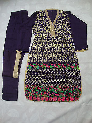 Designer Ready Made Stitched Embroidered Linen Suit Purple Floral 2017