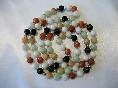 Fine Vintage Chinese Hand Knotted Jade Quartz Onyx Stone Beaded Necklace