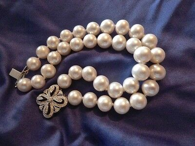 Freshwater Cultured Pearl Two Strand Bracelet With Diamond Set Clasp…nb