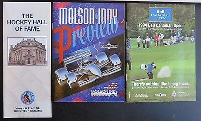 3 Toronto Sports Brochures/Booklets - Molson Indy, HockeyHOF, Canadian Open Golf