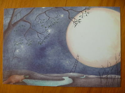 "Postcard...""river Song"" From Magic Fish Dreaming...platypus...full Moon..stars"