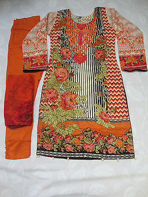 Gul Ahmed Ready Made Stitched Embroidered Lawn Suit Orange Inspired 2017