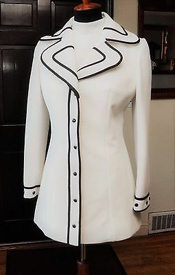 Mod 60s Vintage Lilli Ann Knit White Black Trim Coat Top Cuffed Pants 3 PC Suit
