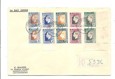 SOUTH AFRICA 1937 ROYAL WEDDING FDC REGISTERED No8336 JOHANESBURG MANY STAMPS