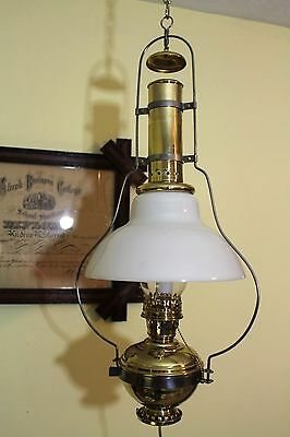Schoolhouse Brass Hanging Oil Lamp With Milk Glass Shade Electrified