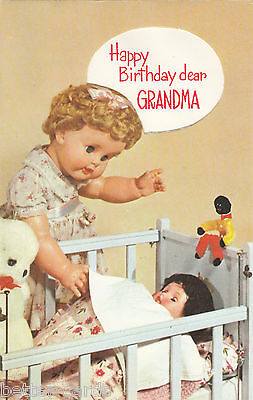 Vintage Dolls 1970's Happy Birthday Grandma Greeting Card