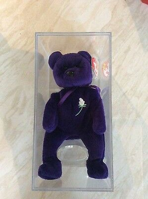 RARE PVC 1997 TY PRINCESS DIANA BEAR BEANIE BABY.ORIGINAL CASE.20th Anniversary