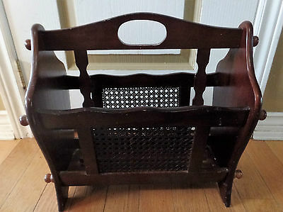 Vintage Brown Wooden Magazine Newspaper RACK w Mesh Fronts~Double Compartments