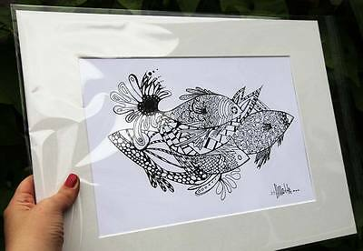 Five Fish / Limited Edition Print of Original Ink Drawing / A4 + Mount Kit