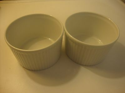 A PAIR OF WHITE PILLIVUYT SOUFFLE OR RAMEKIN DISHES GREAT CONDITION 10cm x 6.5