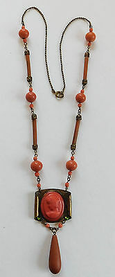 Vintage 1920's Coral Cameo Necklace Beads Bakelite Glass Brass Plastic #144