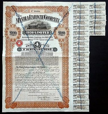 1909 Philippinen: The Manila Railway Company (1906) Limited, £100 Bond