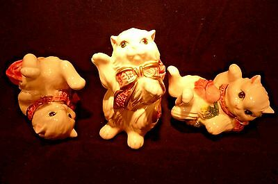 Retired Fitz and Floyd Tumbling Tumbler set 3 Kittens and Roses RARE MIB White P