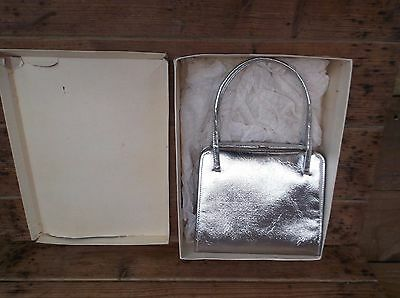 """VINTAGE 1960's SILVER COLOURED """" ELBIEF """" LADIES EVENING BAG WITH BOX"""