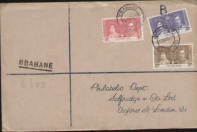 1937 Swaziland Kgvi Coronation Registered Cover To England