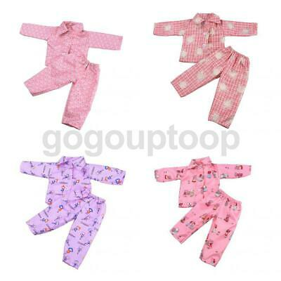 4 Sets Pajamas PJS Sleepwear Doll Clothes Fits 18''