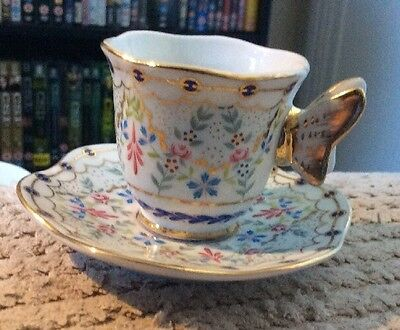Miniature Cabinet Cup & Saucer From Past Times Floral With Butterfly Handle