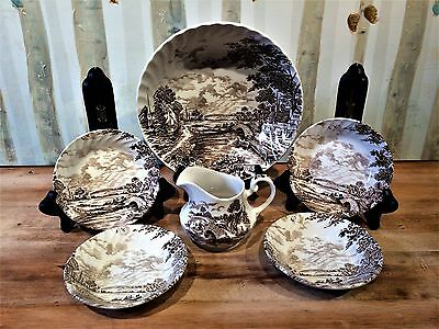 Vintage Ridgeway 1792 Staffordshire England 'Country Days' Hand Engraved LOT