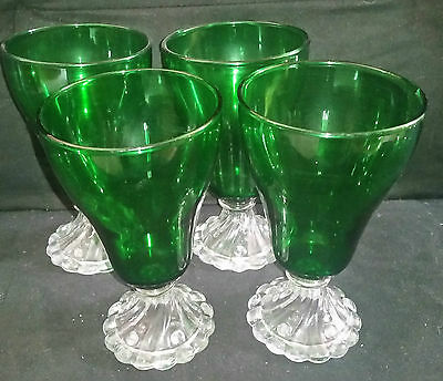 "Vintage FORREST GREEN & CRYSTAL GLASSWARE STEMS 6 3/4"" Goblet Glass"