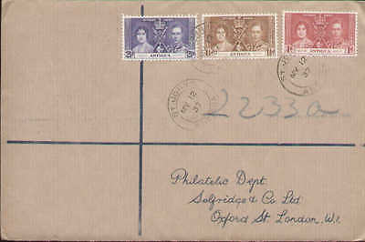 Antigua Sc 81-83 FDC. 1937 Coronation, Selfridges Registered  Stock#18