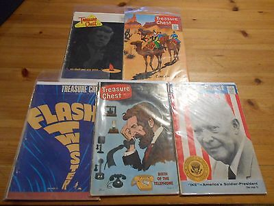 5X Vintage TREASURE CHEST Comics Vol 20 22 24 JFK 1964 1966 1968 Eisenhower Bell