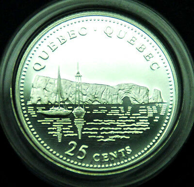 1992 Quebec Canadian silver proof 125th Anniversary 25 Cents  BU