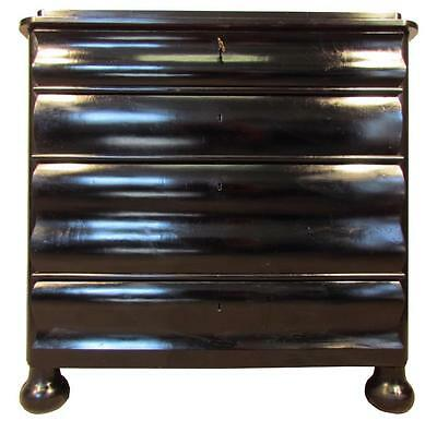 Stylish Black Antique 19th C Concave Chest of Drawers