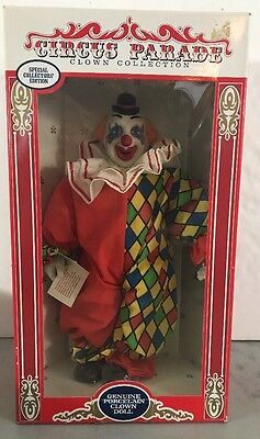 "Circus Parade Porcelain Clown Doll 15"" Scary Creepy Evil Halloween Haunted Clown"