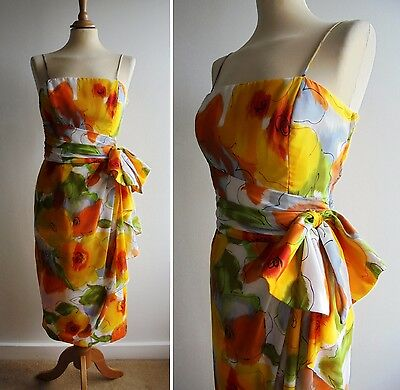 Vintage 1980's TESSARA Yellow Wiggle Dress UK12 Boned & Lined Party/Cocktail