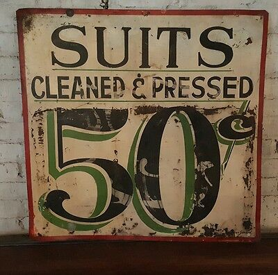 Antique Trade Sign Advertising Suits & Pants Pressed Cleaned American c.1900