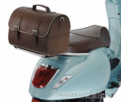 VESPA 70th Anniversary rear luggage bag brown leather scooter Brand New