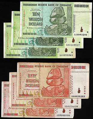 3 x 10 Trillion + 3 x 50 Billion Zimbabwe Dollars Bank Notes AA AB 2008 6PCS Set