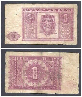 Poland 1 Zloty 1946 in (F-VF) Condition Banknote P-123