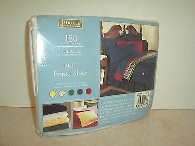 1 New White Fitted Full Size Sheet 54 X 76 Percale 180 Thread Count Double Bed