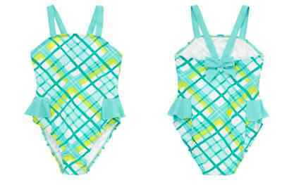 NWT Gymboree Girls Aqua Plaid Side Peplum UPF 50+ Sunscreen One Piece Swimsuit 4