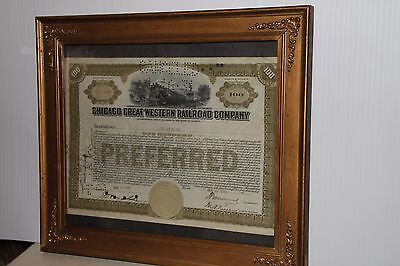 Chicago Great Western Company Preferred Stock Certificate *Framed Ready to Hang*