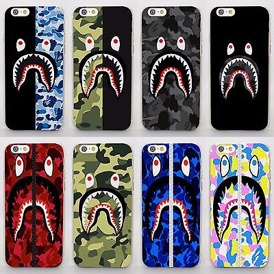 Camo Bape Camouflage Shark Rigid Case Cover For iPhone 5 6 7 8 X Samsung S8 S9