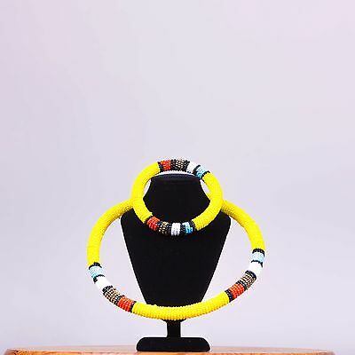 Maasai beaded necklace with matching bracelet.
