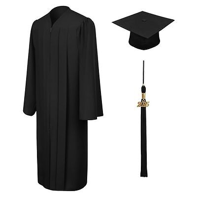 Black Graduation Gown and Cap Size M
